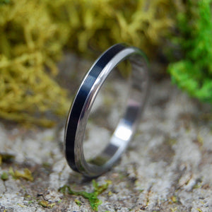 ROUNDED BEAM OF DARKNESS | Onyx Stone & Titanium Women's Wedding Rings - Minter and Richter Designs