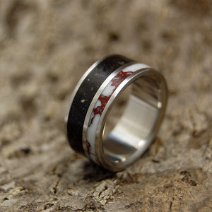 Copy of Beach Sand Lava Wedding Ring - Handcrafted Women's Titanium Wedding Rings | WILD HORSE ON VIK BEACH