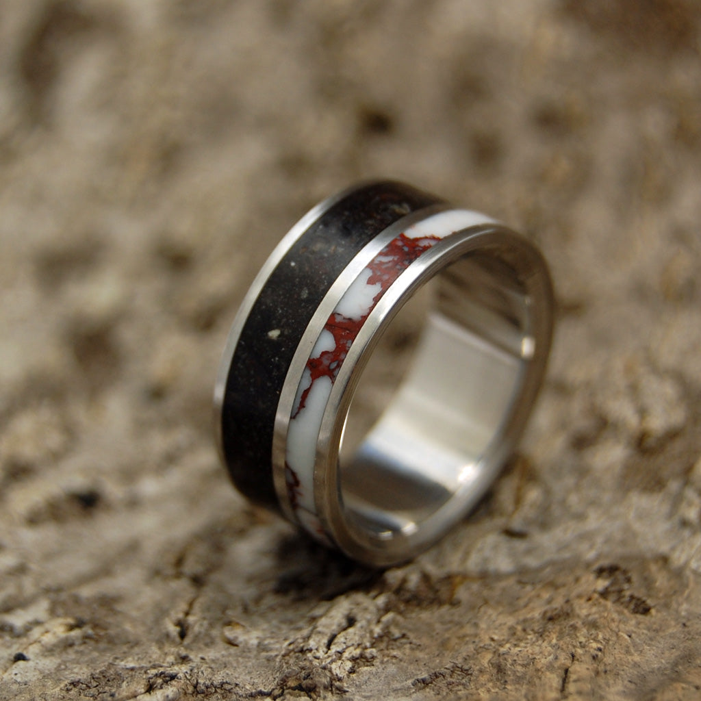 Beach Sand Lava Wedding Ring - Handcrafted Women's Titanium Wedding Rings | WILD HORSE ON VIK BEACH - Minter and Richter Designs