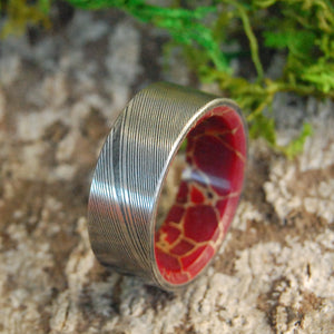 RED JASPER VORTEX | Damascus Damasteel Red Jasper Stone Men's Wedding Rings - Minter and Richter Designs