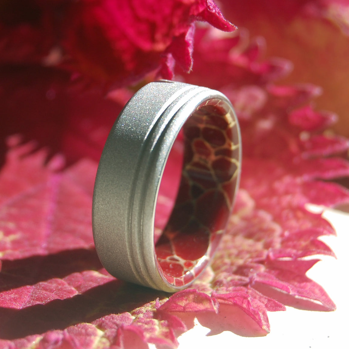 Eyes Forward | Red Jasper Titanium Wedding Band - Minter and Richter Designs