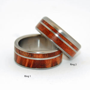 UNDER THE REDWOODS | California Redwood - Wooden Wedding Rings Set - Minter and Richter Designs