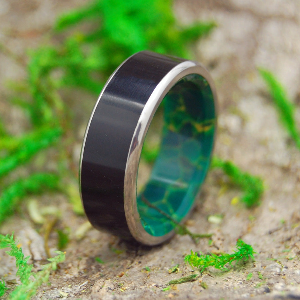 Mens Ring - Titanium and Stone Wedding Band | REUNITED