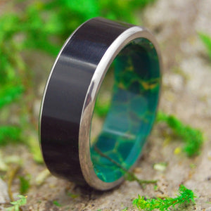 REUNITED | Onyx Stone & Egyptian Jade Titanium Handcrafted Wedding Rings - Minter and Richter Designs