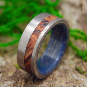 REDWOOD ABOVE | Redwood & Blue Silver M3 Titanium Men's Wedding Rings - Minter and Richter Designs