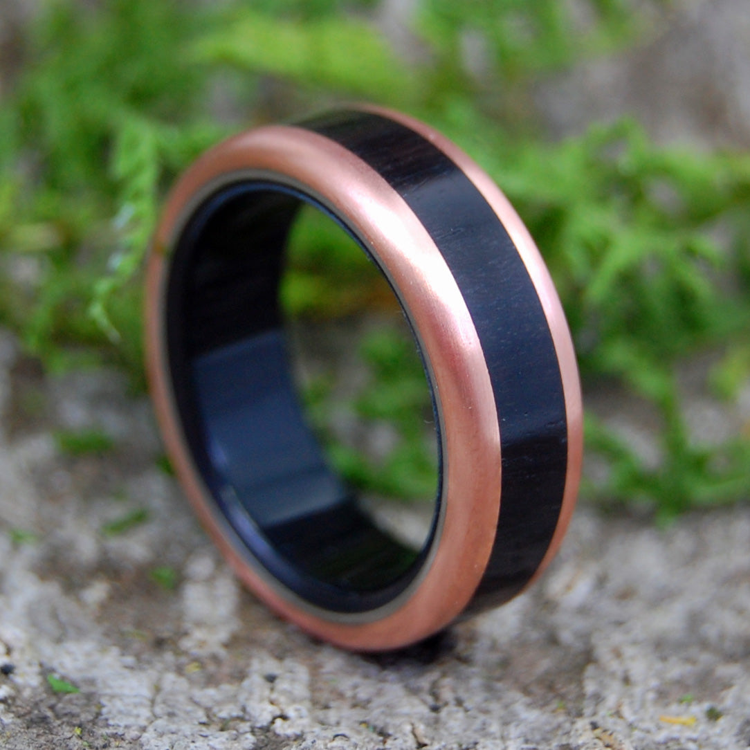 AFRICAN KING | Black Ebony Wood & Copper Titanium Wedding Rings - Minter and Richter Designs