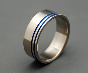 ROYAL ORACLE | Blue Anodized Titanium - Handcrafted Titanium Wedding Rings - Minter and Richter Designs