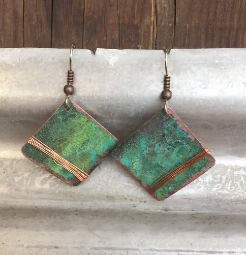Jewelry Earrings | PATINA COPPER SQUARE AND WIRE EARRINGS