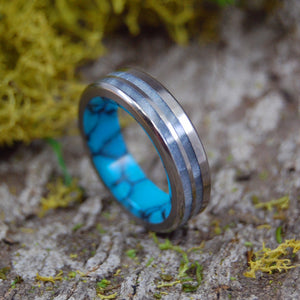 Strong & Bright | SIZE 5 AT 5.6MM | Turquoise & Gray Marbled Opalescent | Titanium Wedding Rings | On Sale - Minter and Richter Designs
