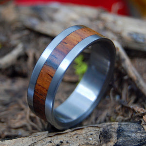 SUPER LOVE | Cocobolo Wood Titanium Men's & Women's Wedding Rings - Minter and Richter Designs