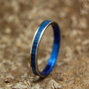 SAPPHIRE BLUE | Blue Marbled Resin Titanium Wedding Rings - Minter and Richter Designs