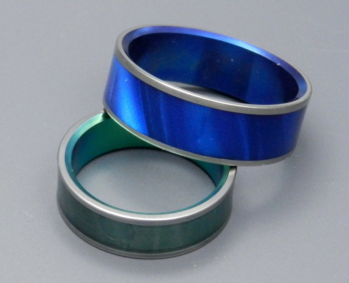 Midnight and Sea Moss | His and Hers Titanium Wedding Band Set
