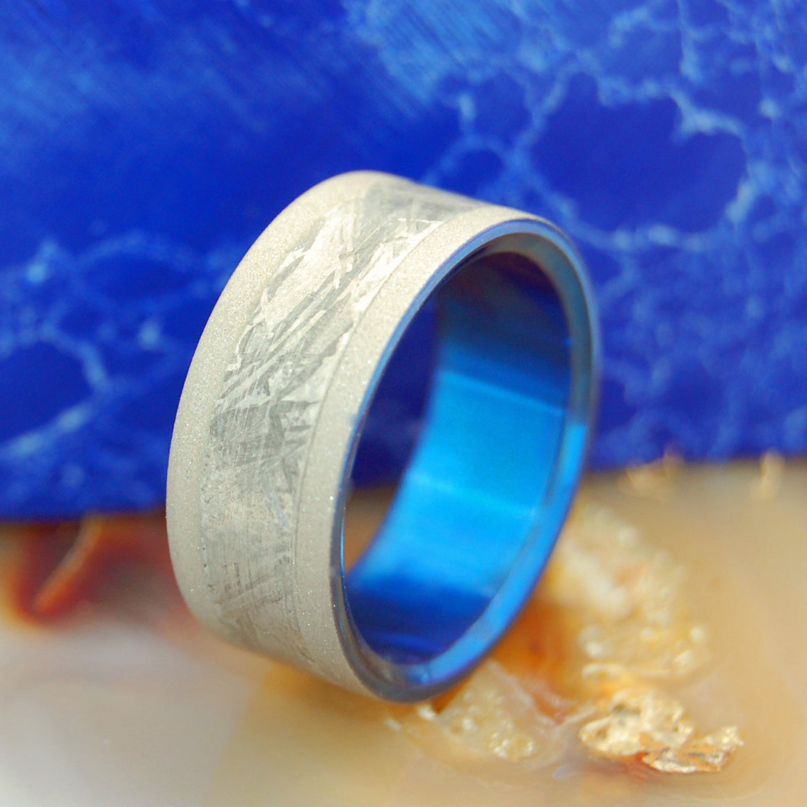 Fly Me To The Moon | Meteorite and Hand Anodized Titanium Wedding Ring - Minter and Richter Designs