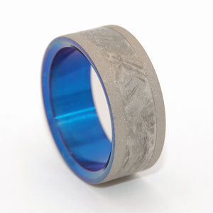 Fly Me To The Moon | Meteorite and Hand Anodized Titanium Wedding Ring