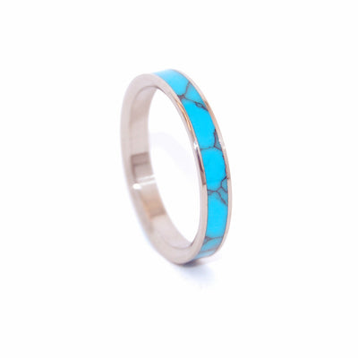 Simple And Turquoise Handcrafted Women S Titanium Wedding Rings