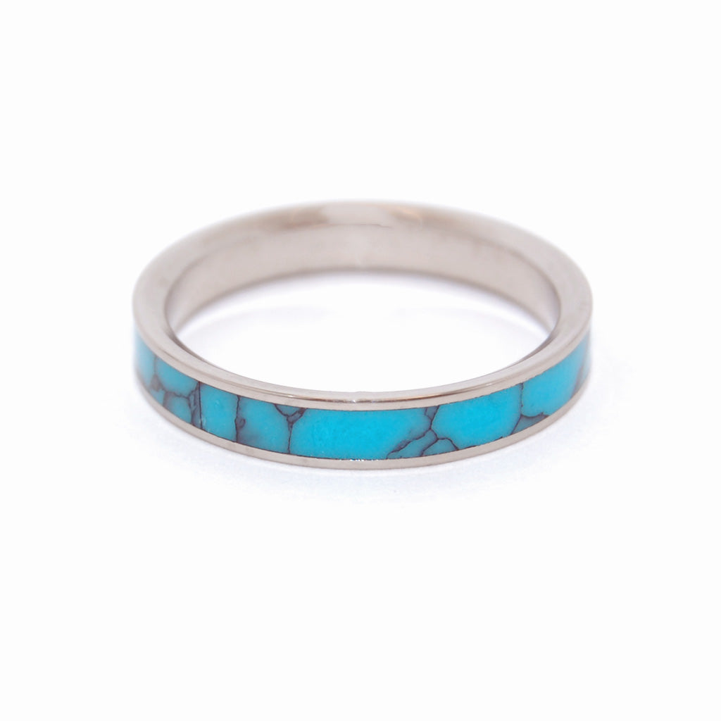 Simple and Turquoise | Handcrafted Women's Titanium Wedding Rings