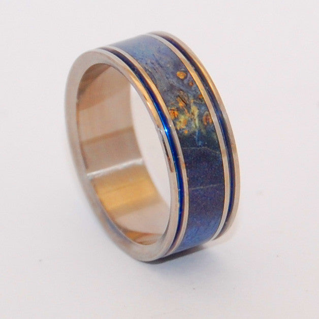 LAUGH | Blue Box Elder Wood & Hand Anodized Titanium Wedding Rings - Wooden Wedding Rings - Minter and Richter Designs