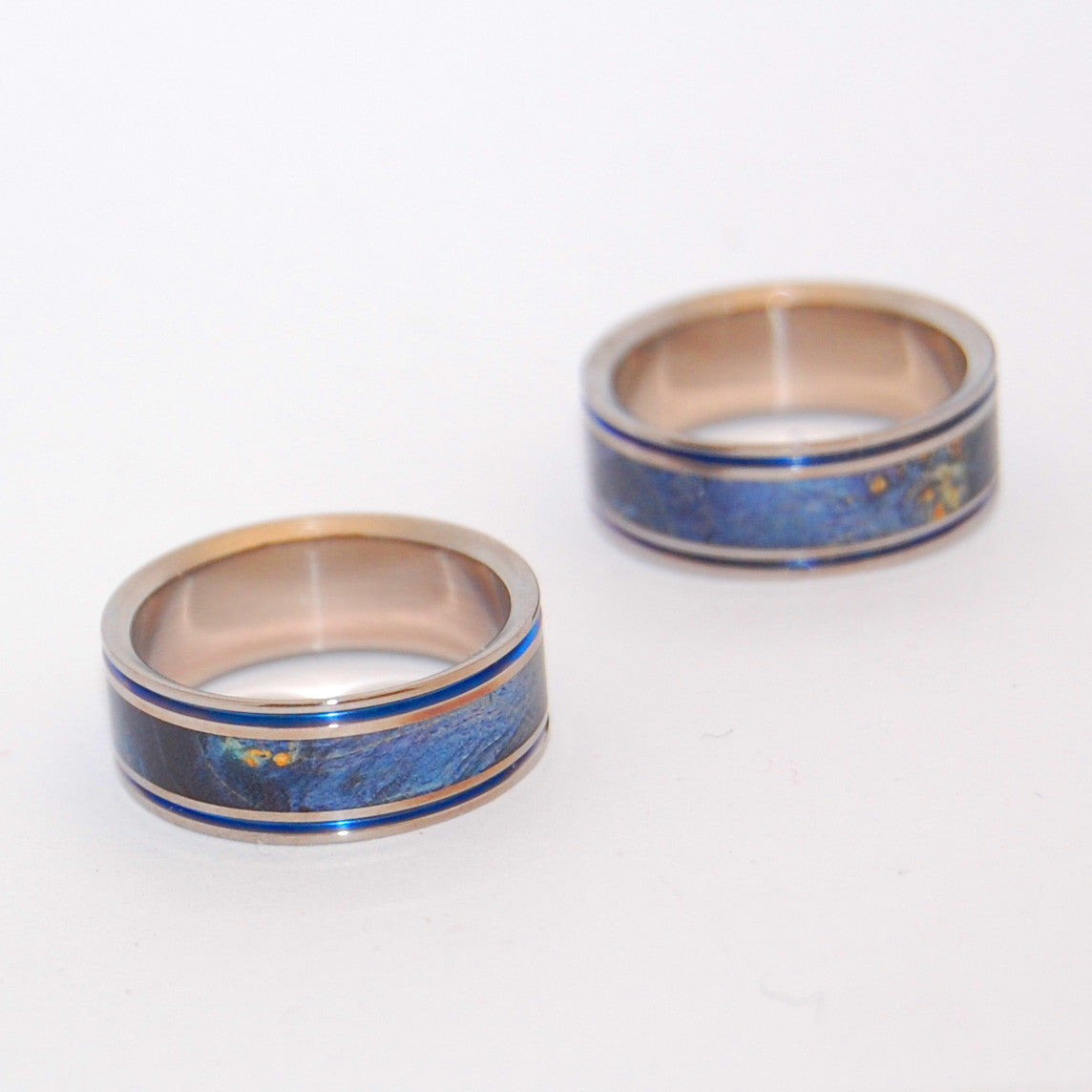 Someone Who Can Make Me Laugh | Hand Anodized Titanium Wedding Ring Set