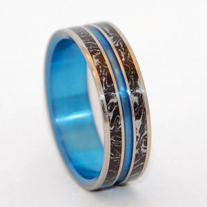 Stand and Deliver | M3 and Hand Anodized Blue - Titanium Wedding Ring - Minter and Richter Designs