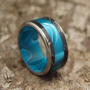 AQUATIC WANDER | Aquatic Resin & Black Silver M3 Mokume Gane Titanium Men's Wedding Rings - Minter and Richter Designs