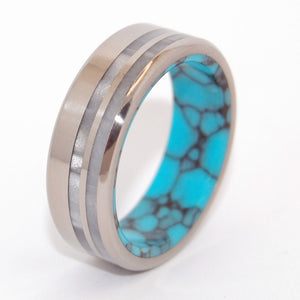 STRONG & BRIGHT | Turquoise & Gray Pearl Opalescent Resin - Titanium Wedding Rings - Minter and Richter Designs