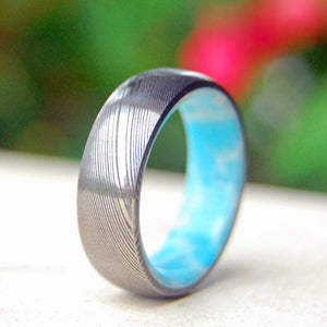 SUNNY DAY | Damascus Steel Damasteel Dominican Larimar Stone Custom Wedding Rings - Minter and Richter Designs