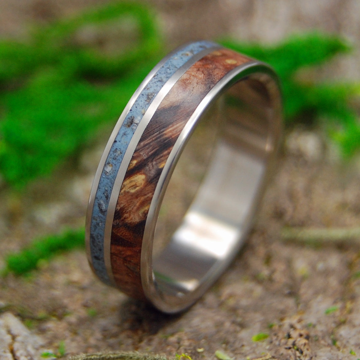 NORTH SEA | Swedish Beach Sand & Golden Box Elder Wood Titanium Men's Wedding Rings - Minter and Richter Designs