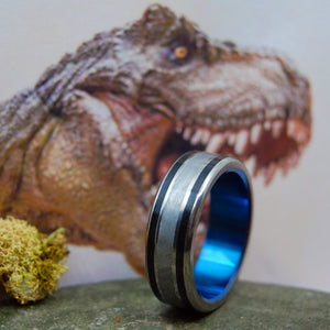 T-REX DINO-BLUE | Dinosaur Tooth & Meteorite Wedding Ring - Unique Wedding Rings - Minter and Richter Designs