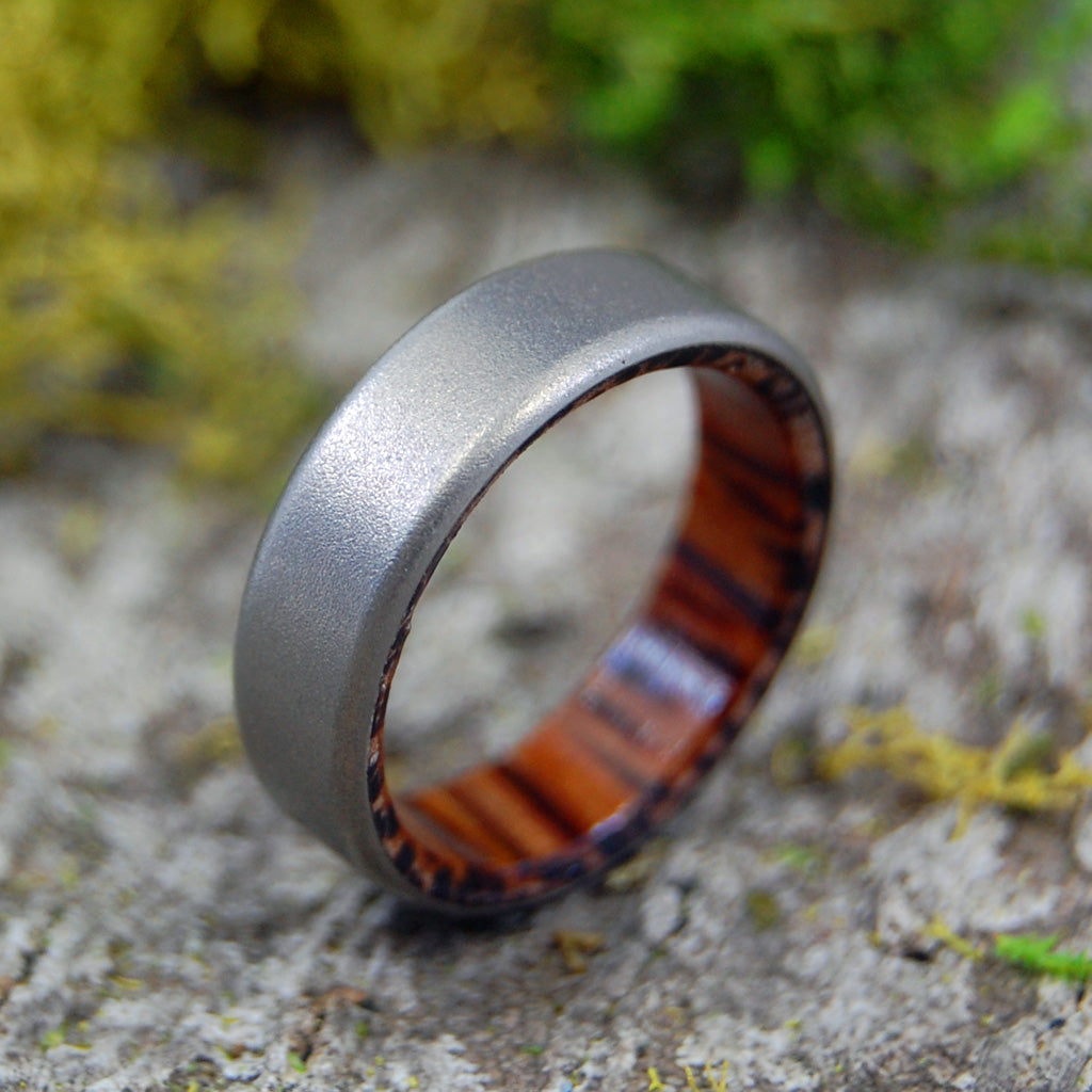 Tales of Eden | SIZE 8.75 AT 6.4MM | Red Palm Wood | Titanium Wedding Rings | On Sale - Minter and Richter Designs