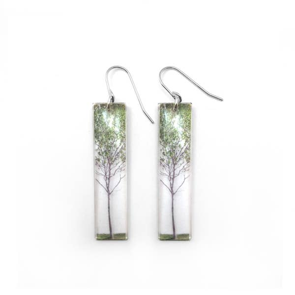 Women's Jewelry, Valentines Day Gift, Wedding Jewelry | TALL GREEN TREE EARRINGS
