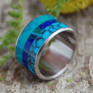 FLUID WE FLOAT | Titanium & Stone Handmade Wedding Rings - Minter and Richter Designs