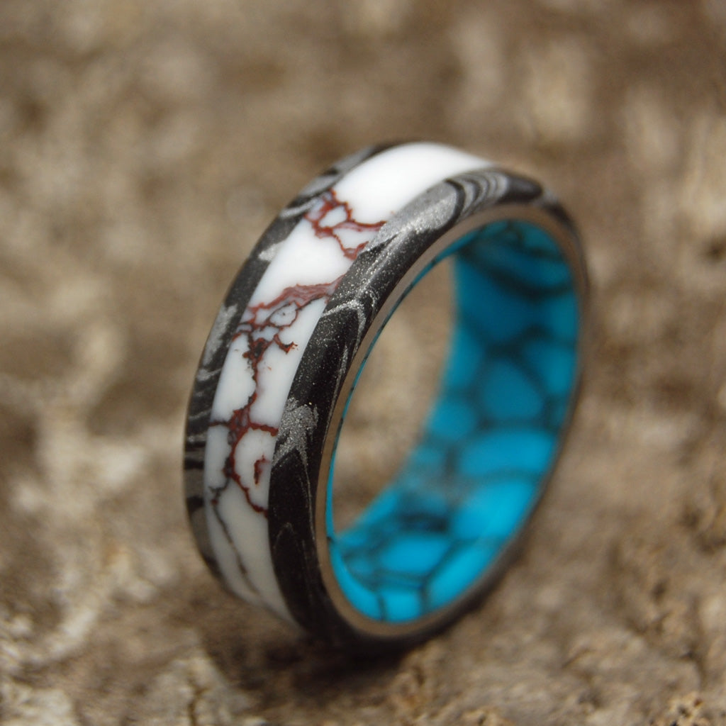 Texas Fire | Mens Rings - Turquoise Wedding Rings - Unique Rings