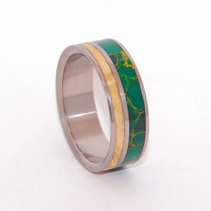The Earth Romanced The Sun | Jade and Wood Titanium Wedding Ring