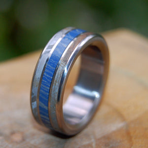 FINAL FRONTIER | Meteorite & Blue Silver Mokume Gane M3 Titanium Wedding Rings for Men and Women - Minter and Richter Designs