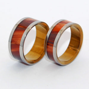 GOLDEN STAIR | Bronze Opalescent Resin & Hand Anodized Titanium Wedding Rings - Minter and Richter Designs