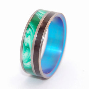 MERMAID'S SECRET | Onyx Stone & Vintage Green Resin - Titanium Wedding Rings - Minter and Richter Designs