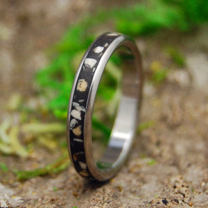 SAND FROM WHERE WE MET | Beach Sand Black Background Custom Titanium Wedding Rings - Minter and Richter Designs