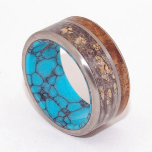 SEA BENEATH | Box Elder Wood, Hawaiian Koa Wood & Turquoise Stone - Unique Wedding Rings - Minter and Richter Designs