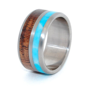 The Sky Above our Home | Wood and Stone Titanium Wedding Band - Minter and Richter Designs