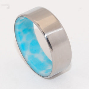 SUMMER OF YOUR HEART | Larimar Stone Wedding Rings - Unique Wedding Rings - Minter and Richter Designs