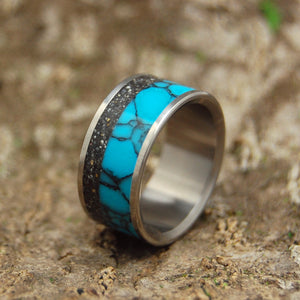 THE UNIVERSE YOU FILL | Turquoise & Black Icelandic Beach Sand - Beach Sand Wedding Rings - Minter and Richter Designs