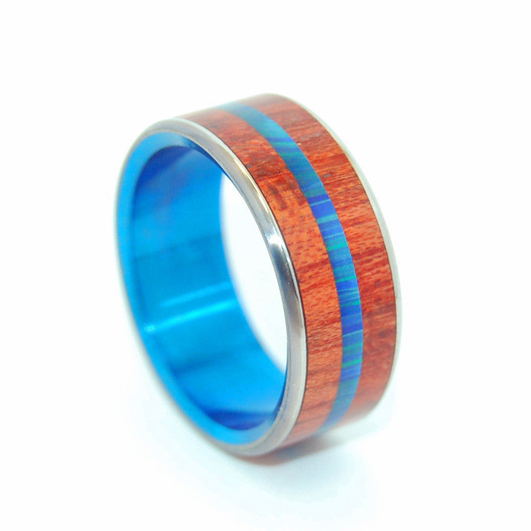 THE UNIVERSE IS FULL | Blood Wood & Azurite Malachite Stone Blue Wedding Rings - Minter and Richter Designs