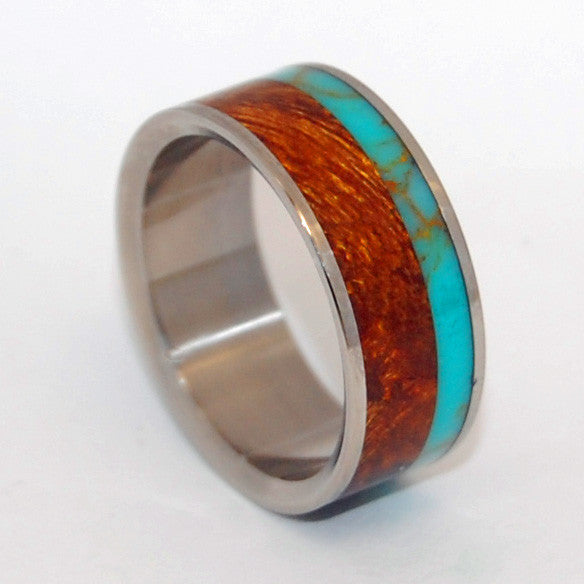 TIBETAN PLATEAU | Desert Ironwood & Tibetan Turquoise Titanium Unique Men's Wedding Rings - Minter and Richter Designs