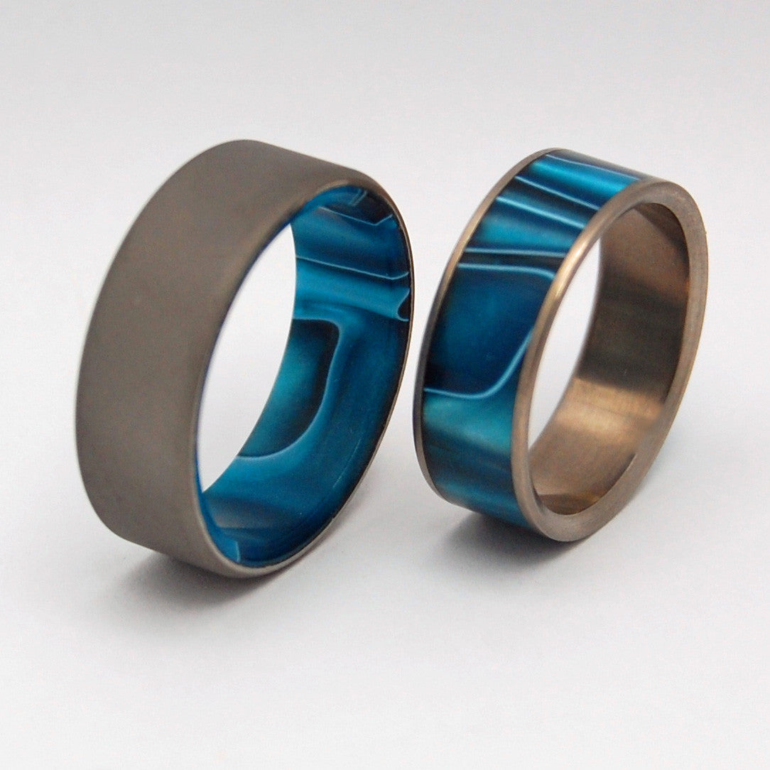 Time Travel and Ocean's Moon | Titanium Wedding Band Set