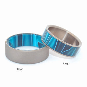 TIME TRAVEL | Aquatic Blue Resin - Unique Titanium Wedding Rings - Minter and Richter Designs