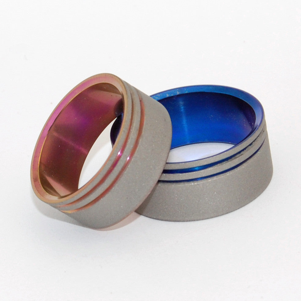 To the Future Pink and Blue Set | His and Hers Titanium Wedding Ring Set