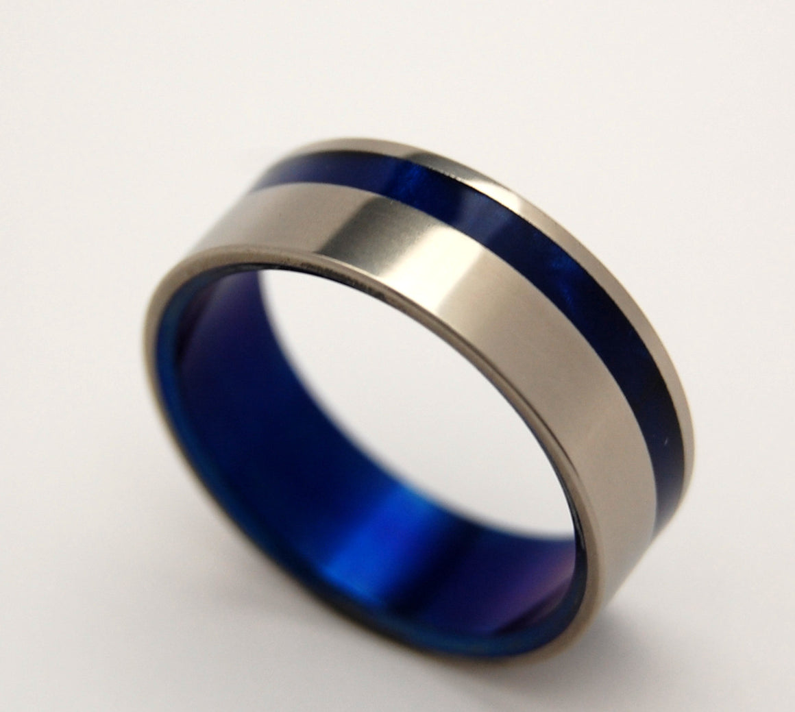 TO THE WINDS RESIGN | Blue Marbled Opalescent Resin & Titanium - Unique Wedding Rings - Minter and Richter Designs