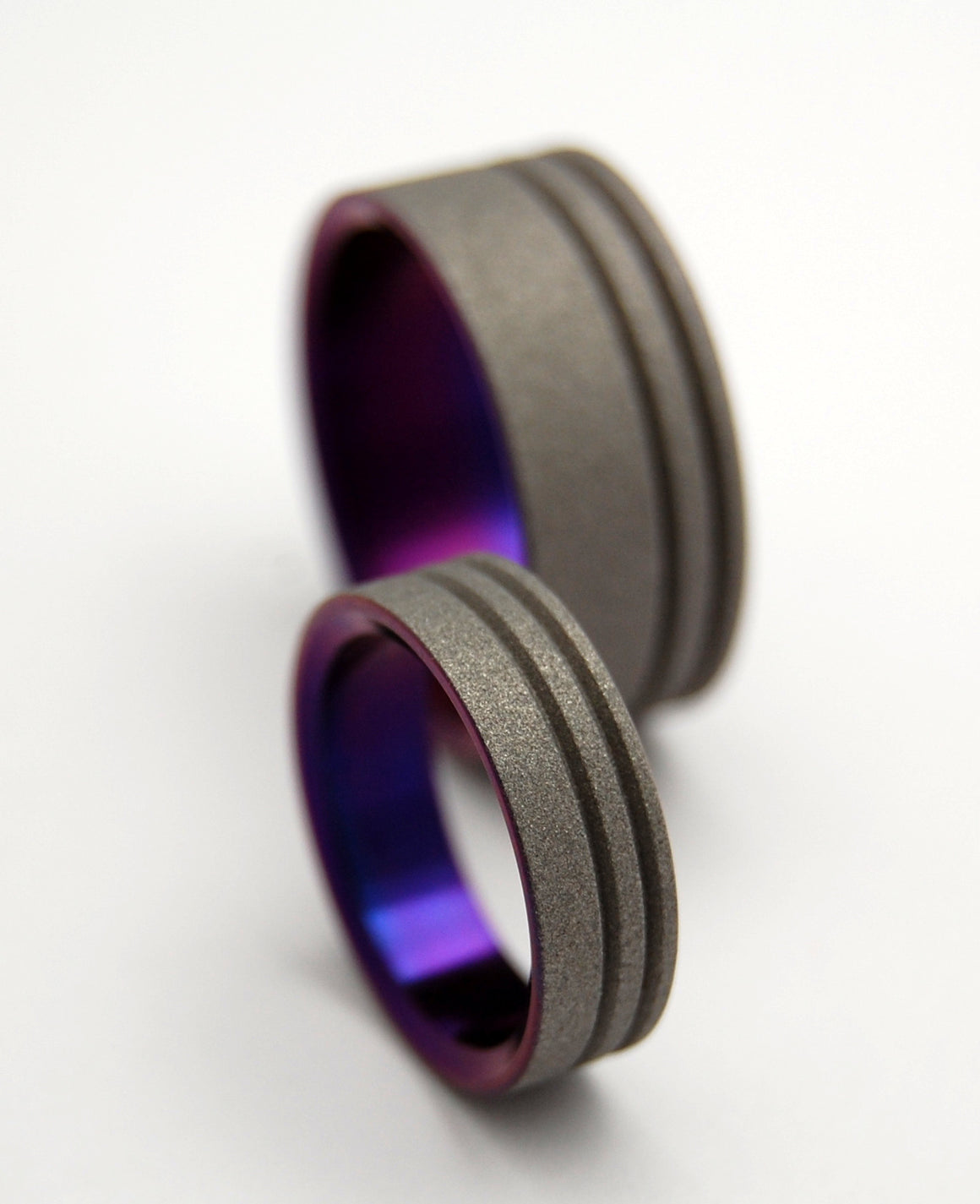 TO THE FUTURE PURPLE | Purple Sandblasted Titanium - Unique Wedding Rings - Wedding Rings Set - Minter and Richter Designs