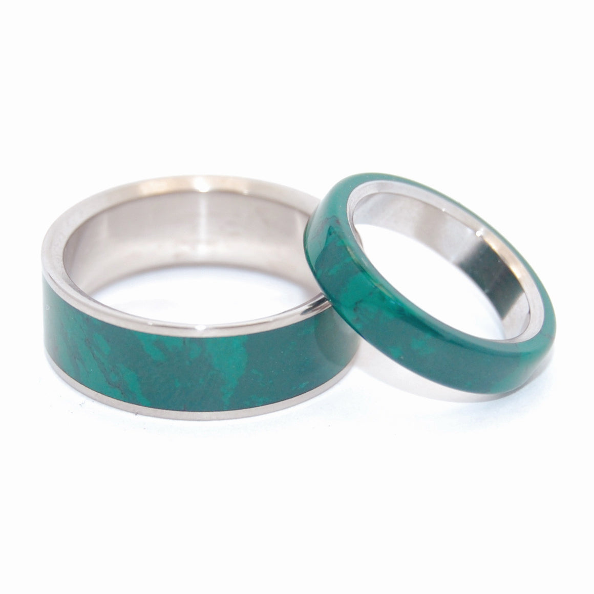 JADE SET | Jade Stone & Titanium Wedding Rings Set - Minter and Richter Designs