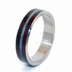 Trust | Rosewood and Blue Maple Wood - Titanium Wedding Ring - Minter and Richter Designs